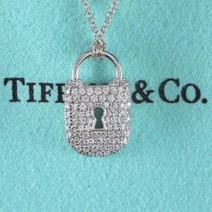Tiffany & Co. Platinum Diamond Padlock Necklace
